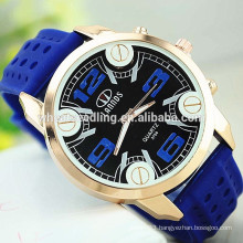 Military blue face Men's Black Silicone Rubber Strap Slim Silicone Sport Watch
