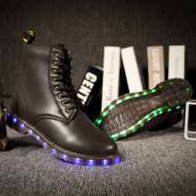Genuine Leather Martin Boots With lights LED Sneakers for Adults