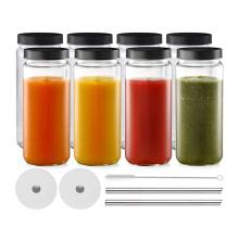 16oz wide mouth cylinder glass beverage bottle for juice Kombucha Milk Tea Soft Smoothie