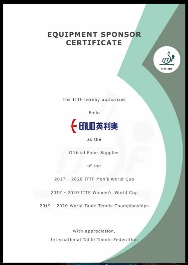 Equipment sponsor by ITTF
