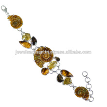 Designer Ammonite And Multi Gemstone 925 Sterling Silver Bracelet Jewelry