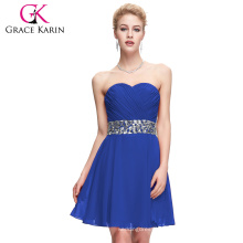 Grace Karin Strapless Off-shoulder Chiffon Blue Short Prom Dresses CL4792-2#