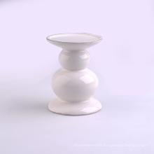 Shining White Glazed Wedding Decor Ceramic Candle Stands