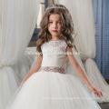 High Quality Korean Frock Designs Children White A line Long Girls Lace Dress