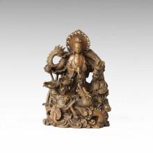 Estatua de Buda Dragones Dobles Avalokitesvara Escultura De Bronce Tpfx-062