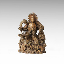 Buddha Statue Double Dragons Avalokitesvara Bronze Sculpture Tpfx-062