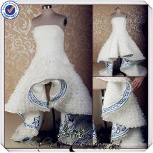 JJ3569 bordados em azul real e vestidos de casamento brancos curtos na frente e longas nas costas