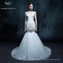 ZXB26 Белый Русалка кружева открытой спиной бисером Алибаба свадебное платье 2015