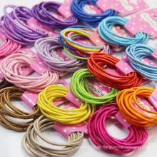 10 Stück Karte verpackt gemischte Farben elastische Haarbänder (JE1501)