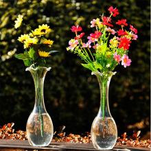 Hand geblasen transparente Blume Glas Vase / Kristall Vase