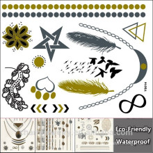 DIY tatuajes de ala de diseño de tatuaje de oro pegatinas impermeables temporales de brillo tatuaje pegatina YS014