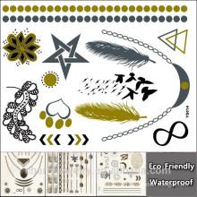 DIY крыла татуировки дизайн золото татуировки наклейки водонепроницаемый временный блеск татуировки наклейки YS014