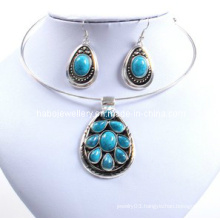 Lovely Oval Imitation Stone, Turquoise Stone, Lady Necklace Set (XJW12600)