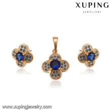 64165 fashion wholesale american diamond jewelry good looking 18k flower type blue diamond gold plated jewelry sets