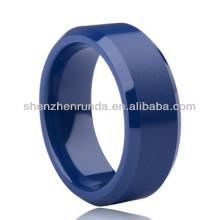 Blaue Farbe glatte Oberfläche Keramik Ringe Damen Herren Ringe Mode Ringe Schmuck Zubehör Porzellan benutzerdefinierte Schmuck Hersteller