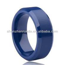 Cor azul superfície lisa anéis de cerâmica anéis dos homens das mulheres moda anéis acessórios de jóias china custom jewelry fabricante