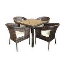 Aluminium en osier rotin chaise de repas en plein air