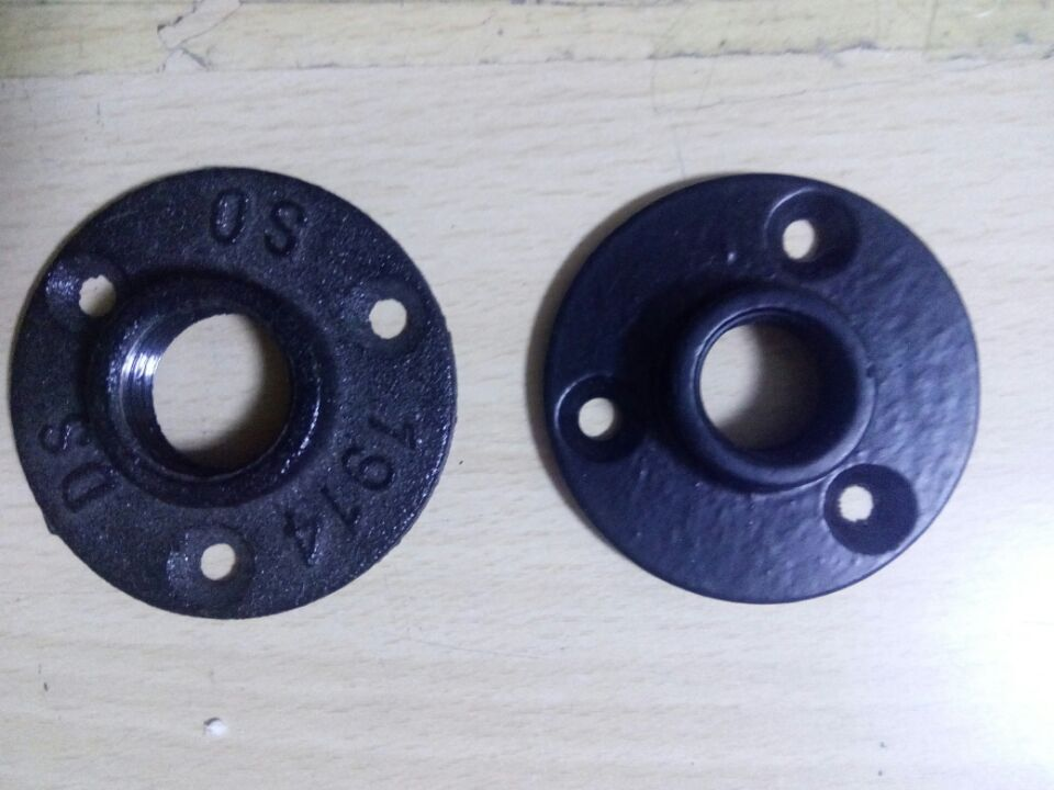 cast iron floor flange with 3 holes used in retro metal pipe furniture