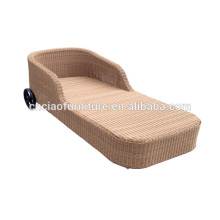 Outdoor Wicker Sun Lounger With Wheels