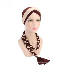 Bandanas muçulmanas chapéu turbante de crochê de poliéster para mulheres