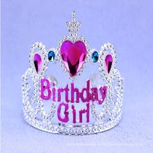 Silberne Tiara Krone mit blauem und Herz Juwel Haar Zubehör
