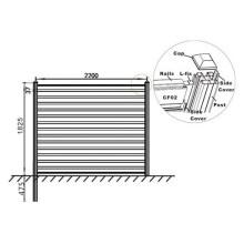 Ausgezeichnete Witterungsbeständigkeit Alu-WPC Zaun 180 * 25/90 * 25mm