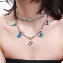 Colorful Butterfly Necklace with Diamond Retro Cool Girl Butterfly Necklace