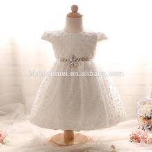 Novo Barato Do Bebê Meninas Curto Vestido de Batismo com Laço Arco Pérolas O Pescoço Baptismo Vestido de Aniversário Vestido Branco / Rosa