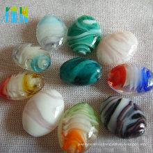 высокое качество оптовая продажа разноцветные стеклянные бусины для изготовления ювелирных изделий кабошон формы рисовые шарики