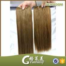 Wholesale top quality straight 100% remy human hair bundle double drawn brazilian brown hair weave