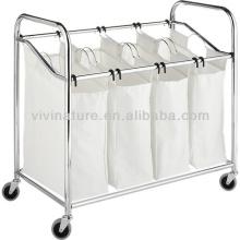 Hôtel Hamper Easy Taking Chart \ Blanchisserie en métal chromé Tableau de lavage avec des roues \ Home