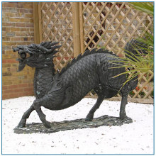 Doorway Black Chinese Large Bronze Dragon Statue