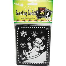 niños pintando Navidad velet reuniendo borrosa tarjeta de felicitación