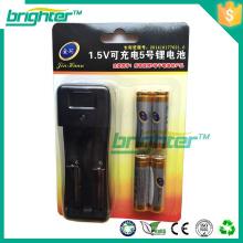 La mejor calidad 1.5v aa li ion recargable de la batería