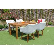 Ensemble de table et de chaise de luxe PE Rattan 6 pour meubles de jardin extérieur