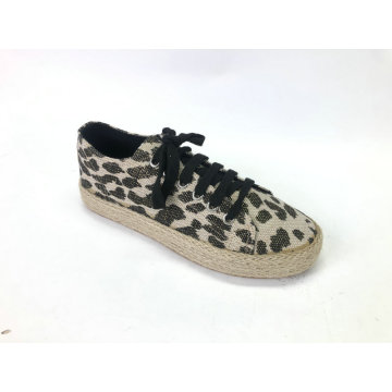 Ladies Lace-Up Chunky Espadrille Flatform Brogue Shoes