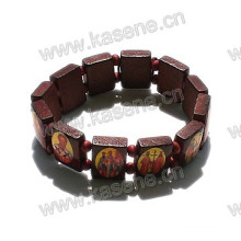 Dunkler Kaffee Katholische Perle Holz Rosenkranz Armband