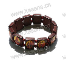 Dark Coffee Catholic Bead Wooden Rosary Bracelet