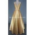 Gold Solid Mikado Ballkleid Langes Kleid