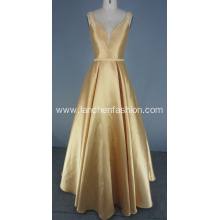 Gold Solid Mikado Ball Gown Long Dress