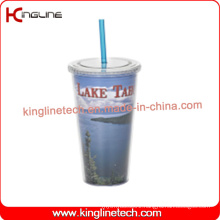 650ml double wall straw cup(KL-SC119)