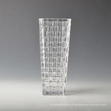 Vaso de vidro quadrado feito à mão com padrão de tecido