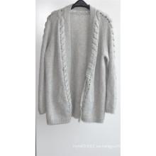 30% Cashmere 70% Lana Ladies Opean con estampado de chaqueta