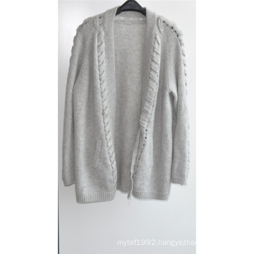 30%Cashmere 70%Wool Ladies Opean Patterned Cardigan