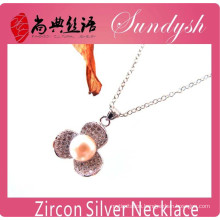 Fashion Handmade Zirconia Flower Charms Pendant Long Chain Necklace