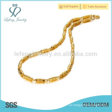 Cadena de cobre de bambú de chapado, 18k oro cubierto cadena de enlace cubano joyas