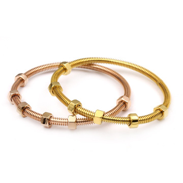 Wholesale Price for Letter Engraved Stainless Steel Bangle Custom Rose Gold Plated Stainess Steel Nuts Bangle supply to Portugal Factories