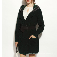 16STC8060 women winter warm cable fashion wool cashmere coat