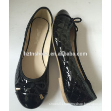 Women classic ballerina padded PU flat pumps cheap price shoes