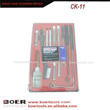 11pcs Spray Gun Air Tools Kit de cepillo de limpieza Caja de plástico de embalaje